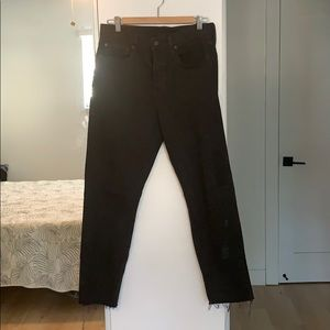Levi's Skinny High Waisted Raw Hem Jeans- Black